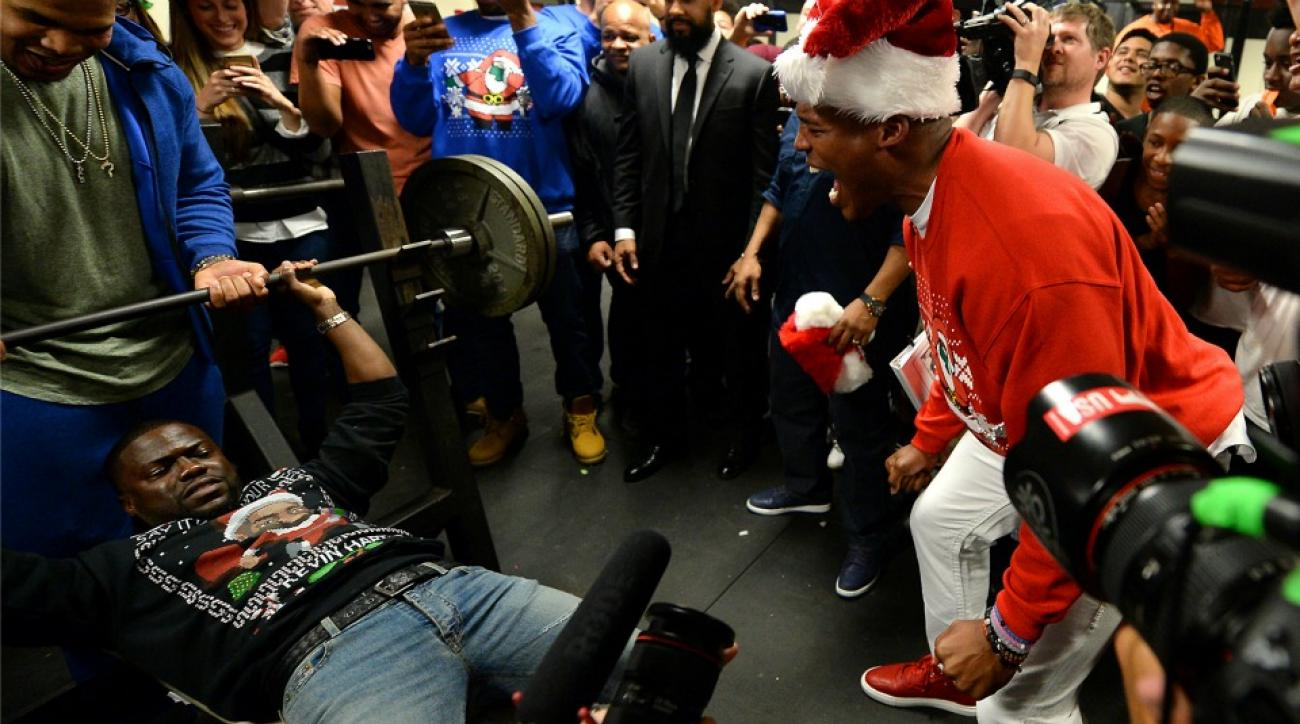 Cam Newton made Kevin Hart bench press 225 pounds