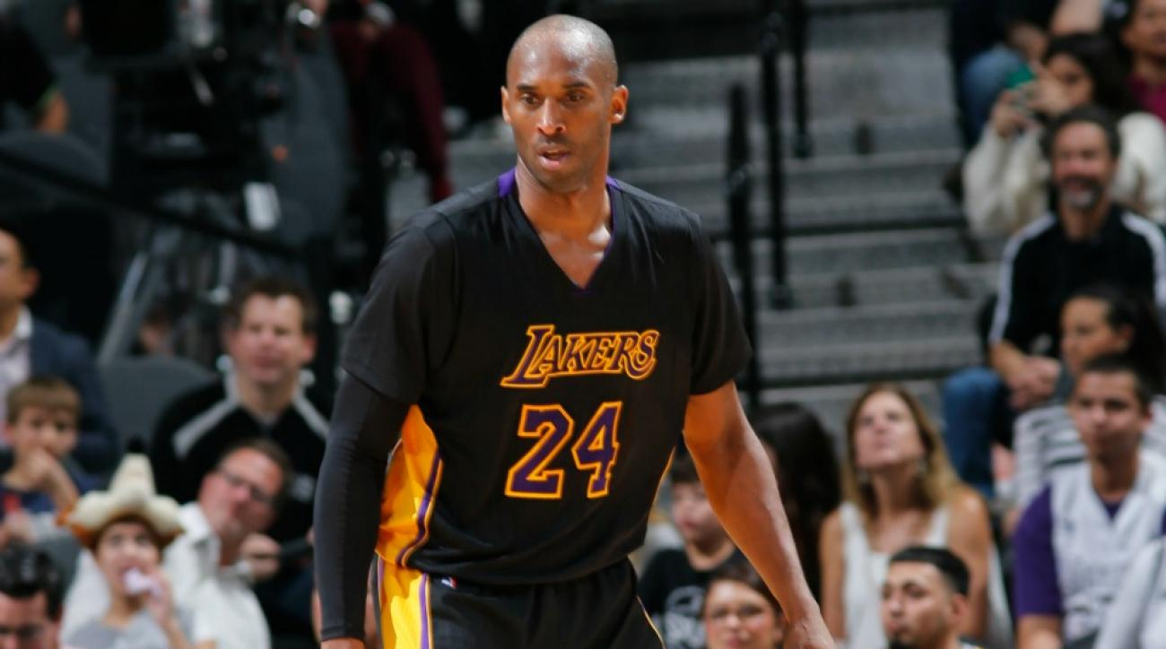Los Angeles Lakers' Kobe Bryant admires Darth Vader