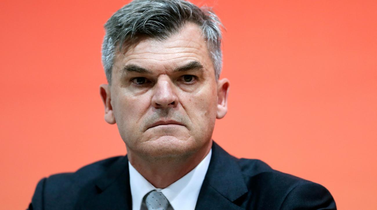 IAAF Deputy General Secretary Nick Davies attends IAAF press conferences in Beijing.