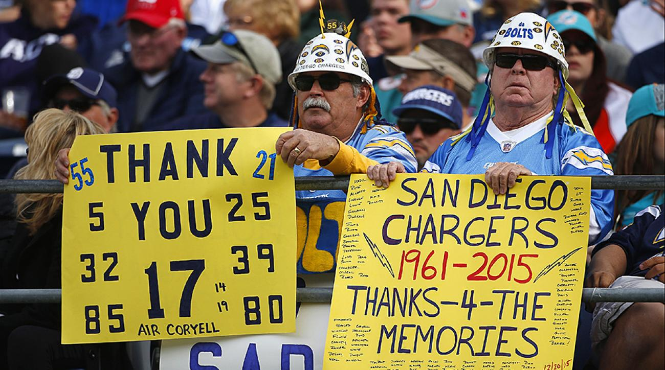 Chargers fans salute their team as they play what could be their last home game in San Diego.