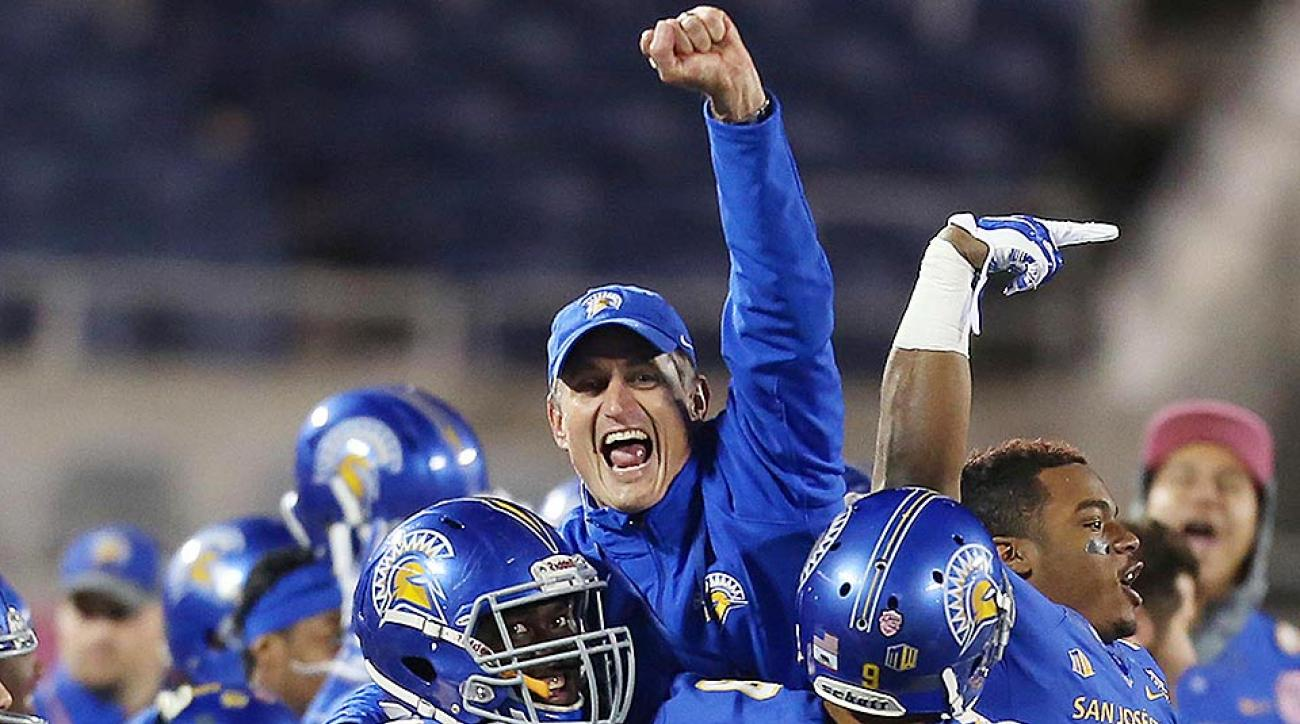 San Jose State head coach Ron Caragher celebrates his team's win over Georgia State on Dec. 19 in the AutoNation Cure Bowl