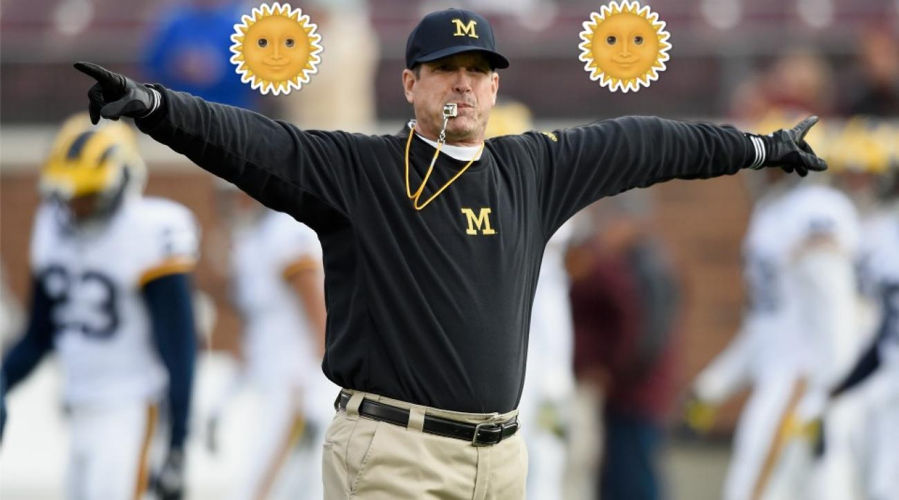 Citrus Bowl Michigan-Florida: Jim Harbaugh thanks the football gods