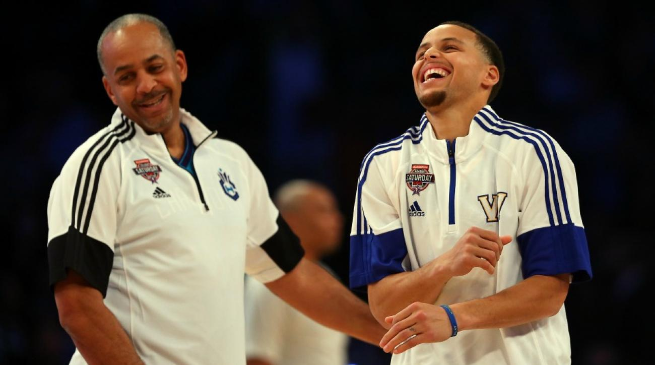 Golden State Warriors' Stephen Curry scare Charlotte Hornets Dell Curry before game