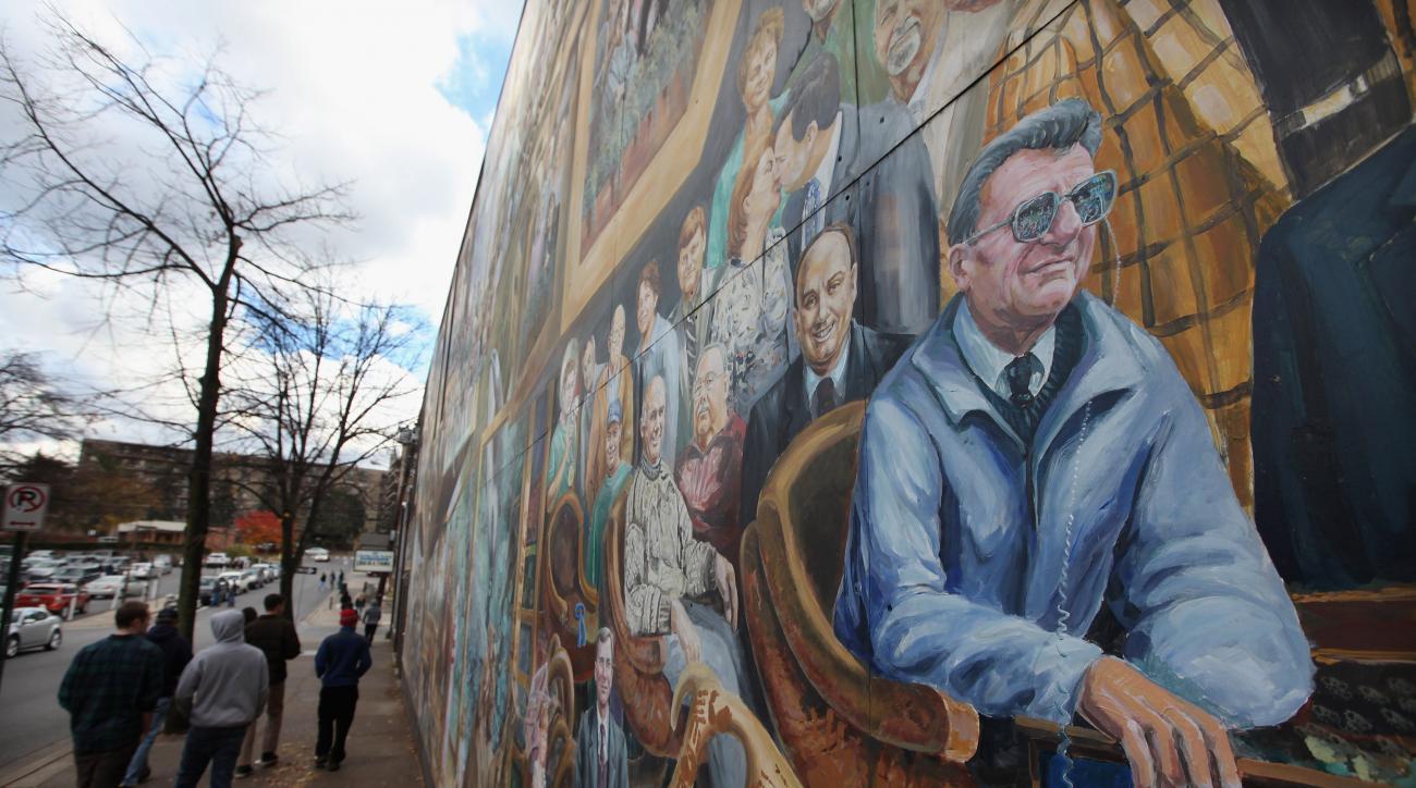Artist repaints halo above Joe Paterno