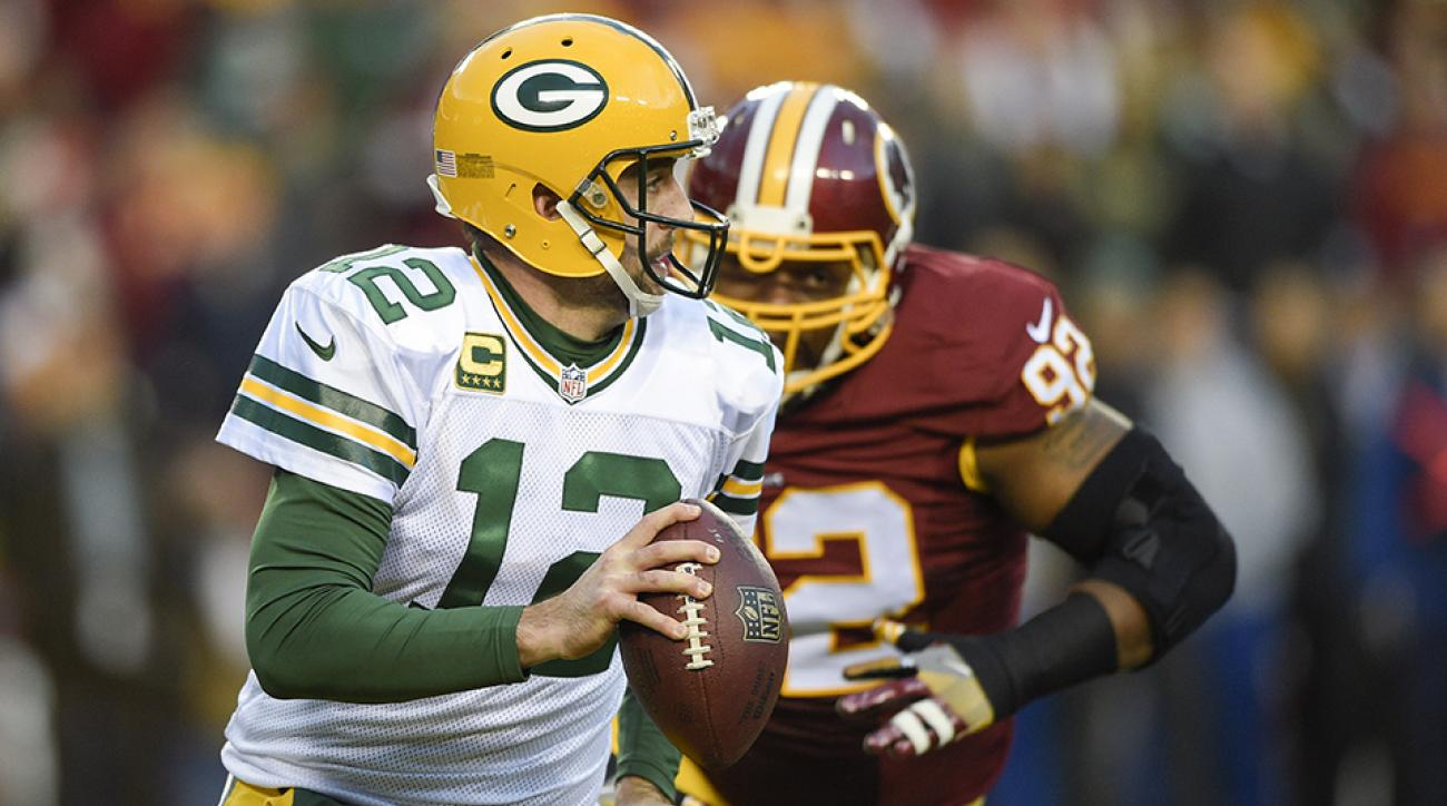packers redskins playoffs safety aaron rodgers video