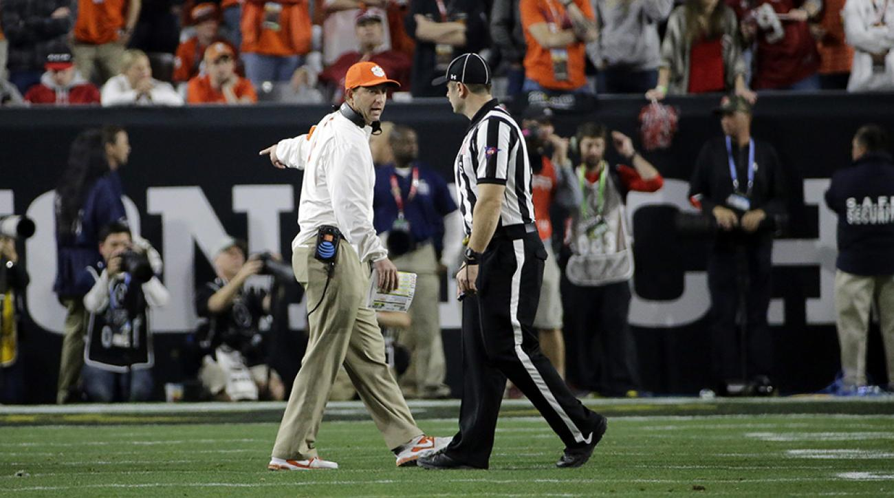 clemson tigers national championship title game dabo swinney clock malfunction halftime