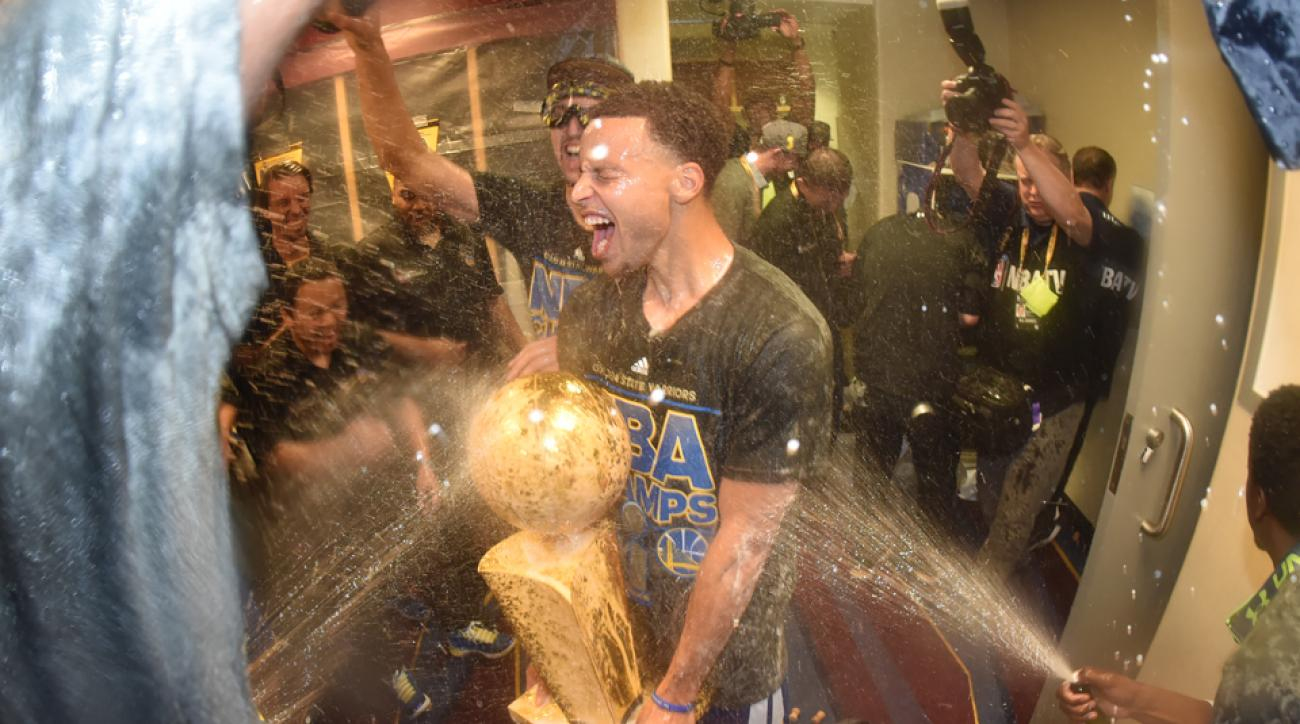 stephen curry cleveland return champagne warriors cavaliers finals