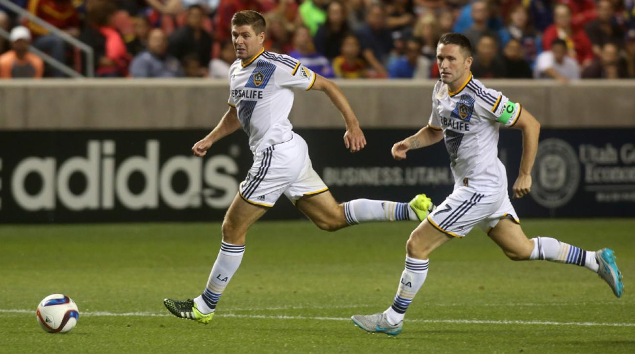 LA Galaxy stars Steven Gerrard and Robbie Keane