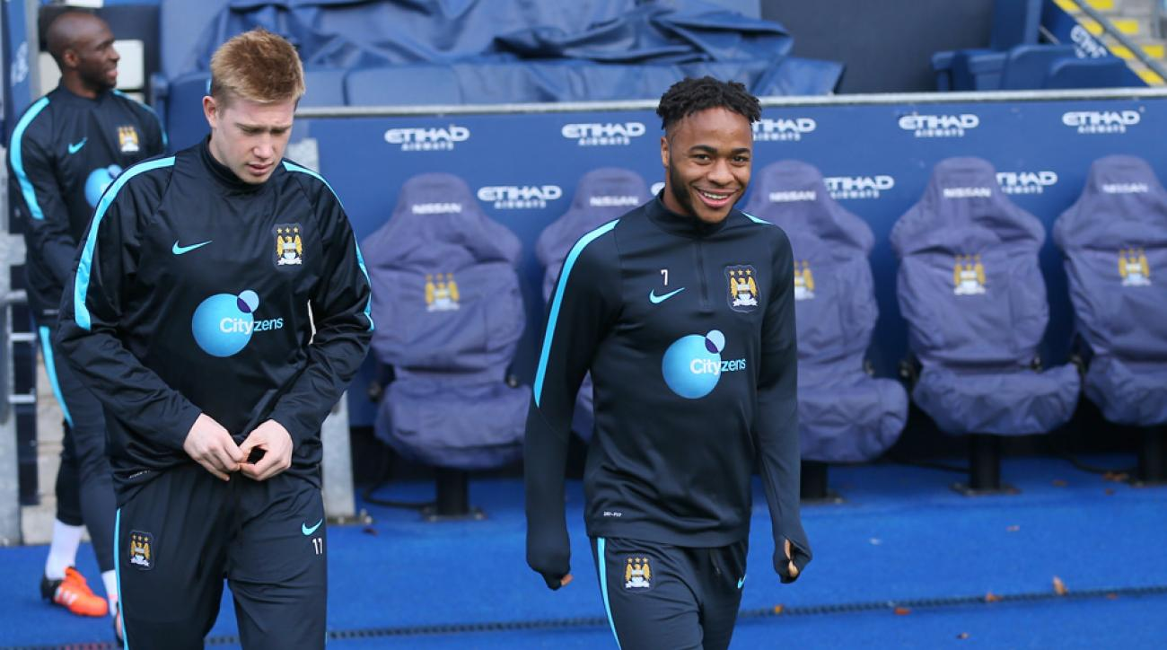 Manchester City's Kevin De Bruyne and Raheem Sterling