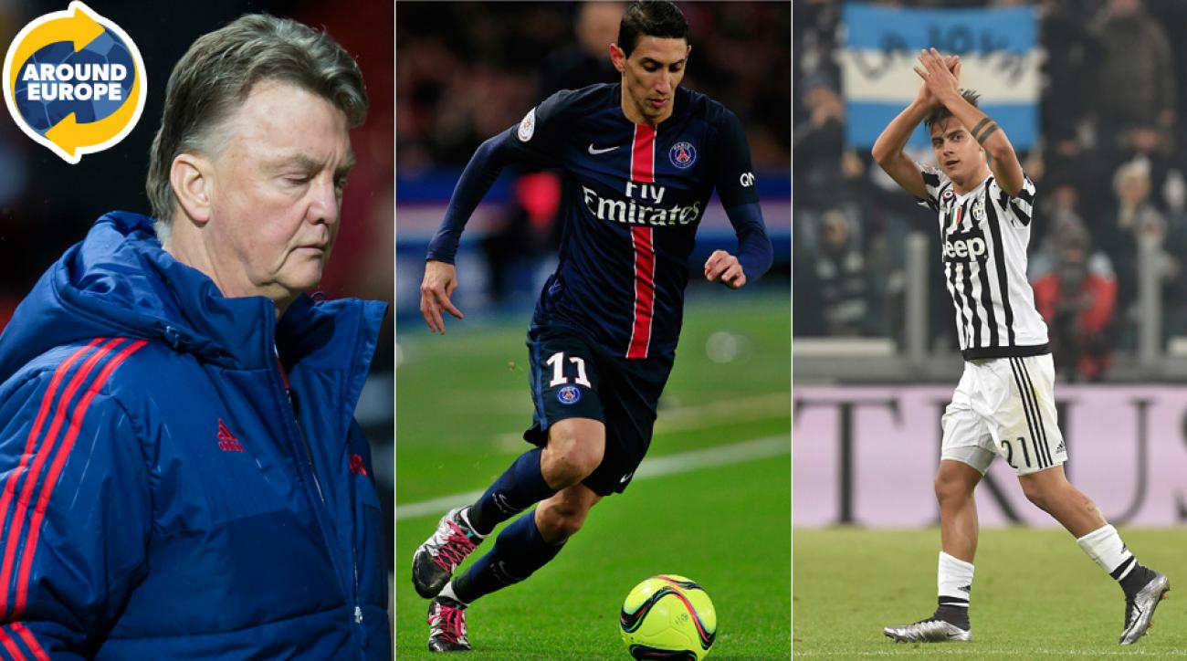 Louis van Gaal, Angel di Maria and Paulo Dybala were at the center of the weekend's headlines around Europe.