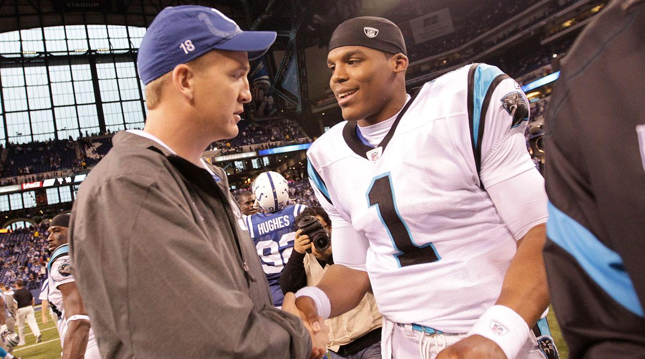 Peyton Manning and Cam Newton shook hands after a Nov. 2011 Panthers-Colts game in Indianapolis.