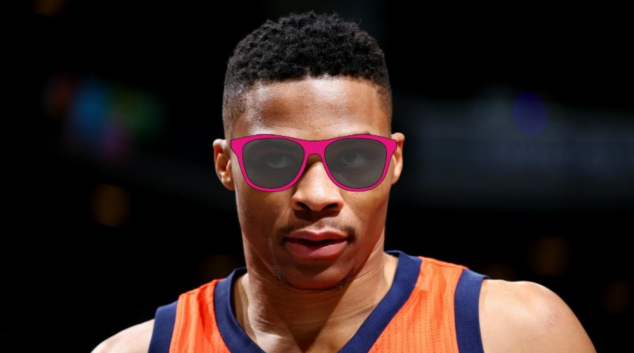 Thunder's Russell Westbrook helps Stephen Colbert pick out new glasses
