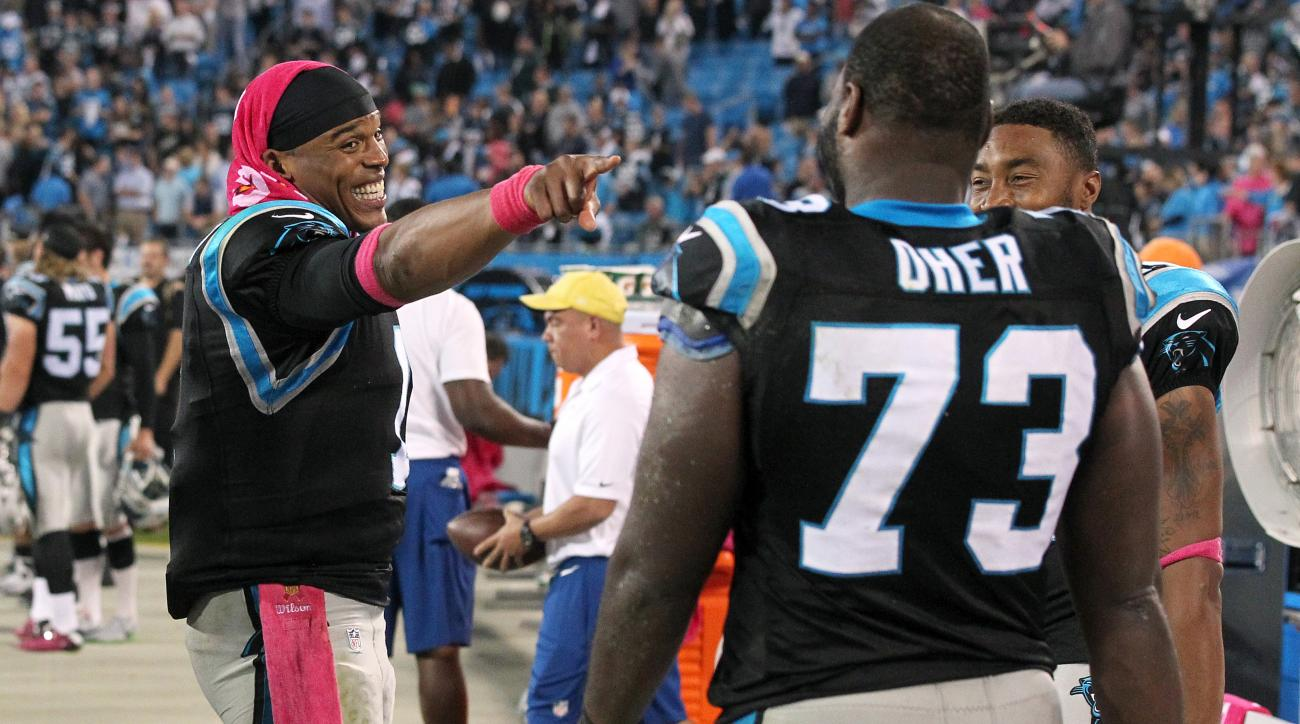 cam-newton-michael-oher-super-bowl-50-panthers-broncos