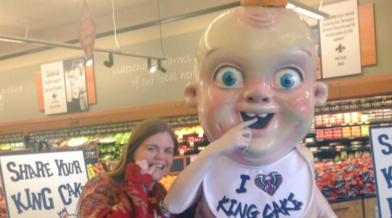 pelicans king cake baby mascot video