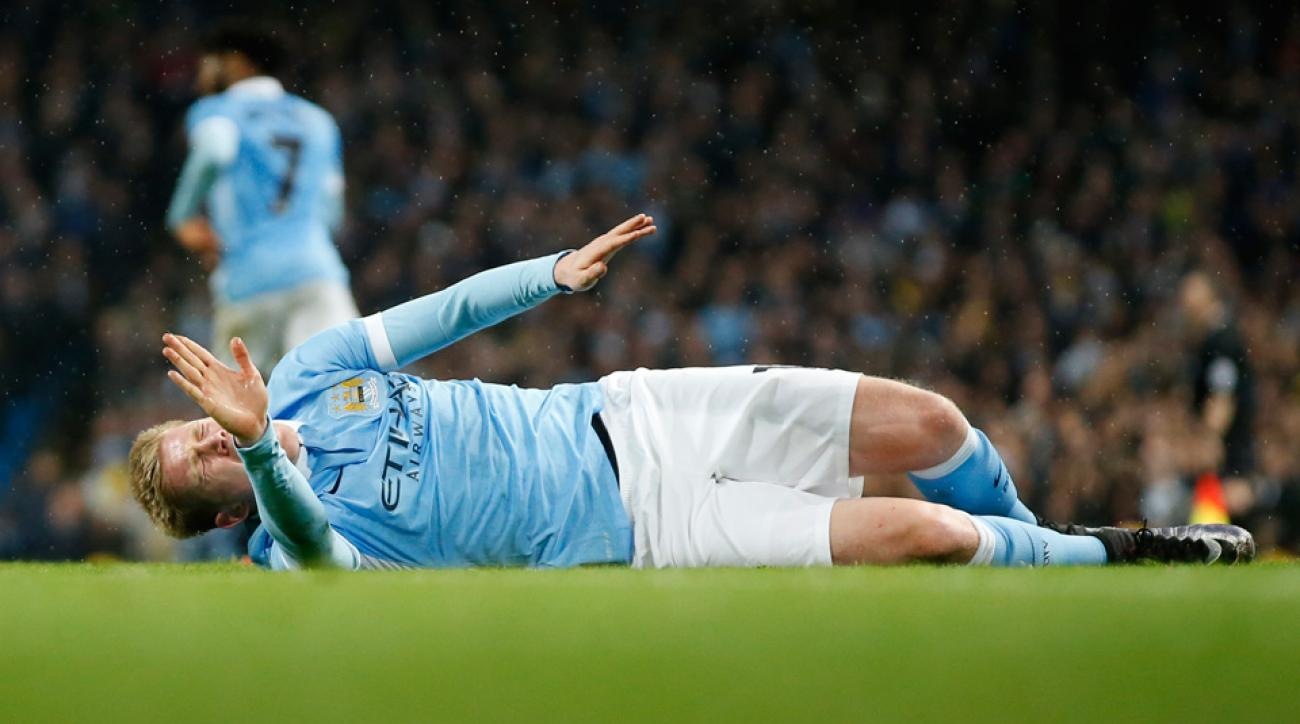 Manchester City's Kevin De Bruyne suffered an injury in the League Cup semifinals vs. Everton