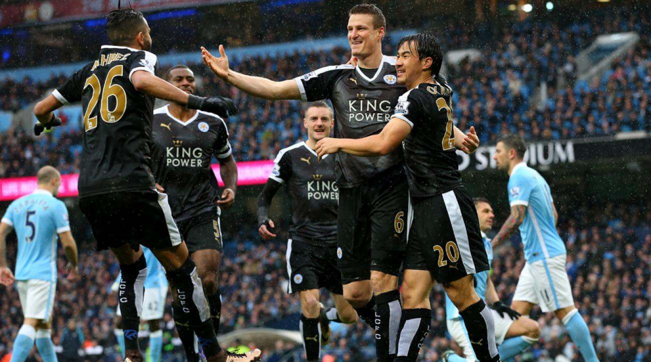 Robert Huth scores early vs. Manchester City for Leicester City