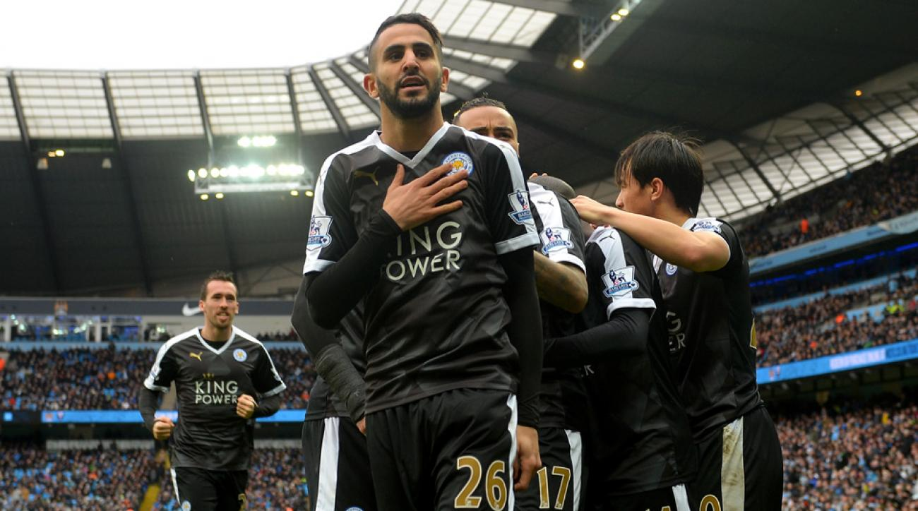 Riyad Mahrez scores for Leicester City vs. Manchester City