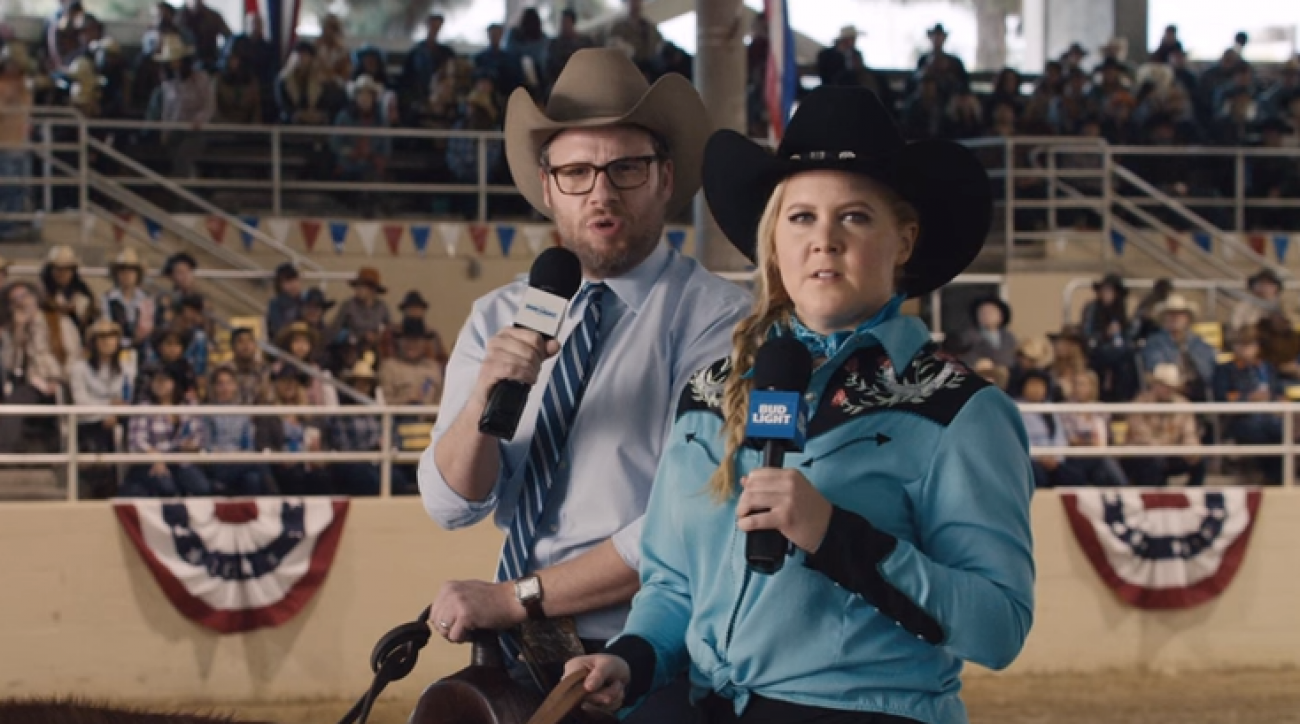 Super bowl 50 watch amy schumer seth rogen in bud light ad si watch amy schumer and seth rogen in bud light super bowl commercial aloadofball Gallery