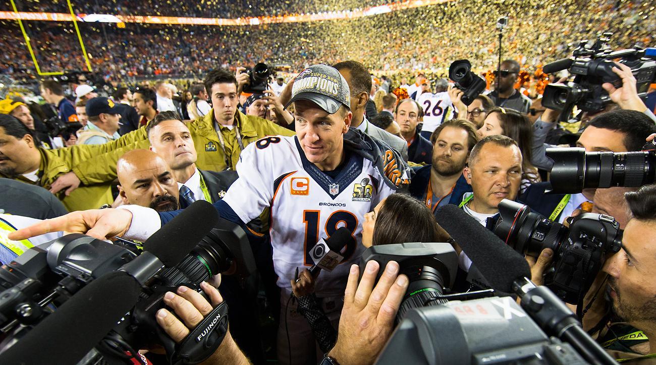 Peyton Manning celebrates after the Broncos' Super Bowl 50 victory.