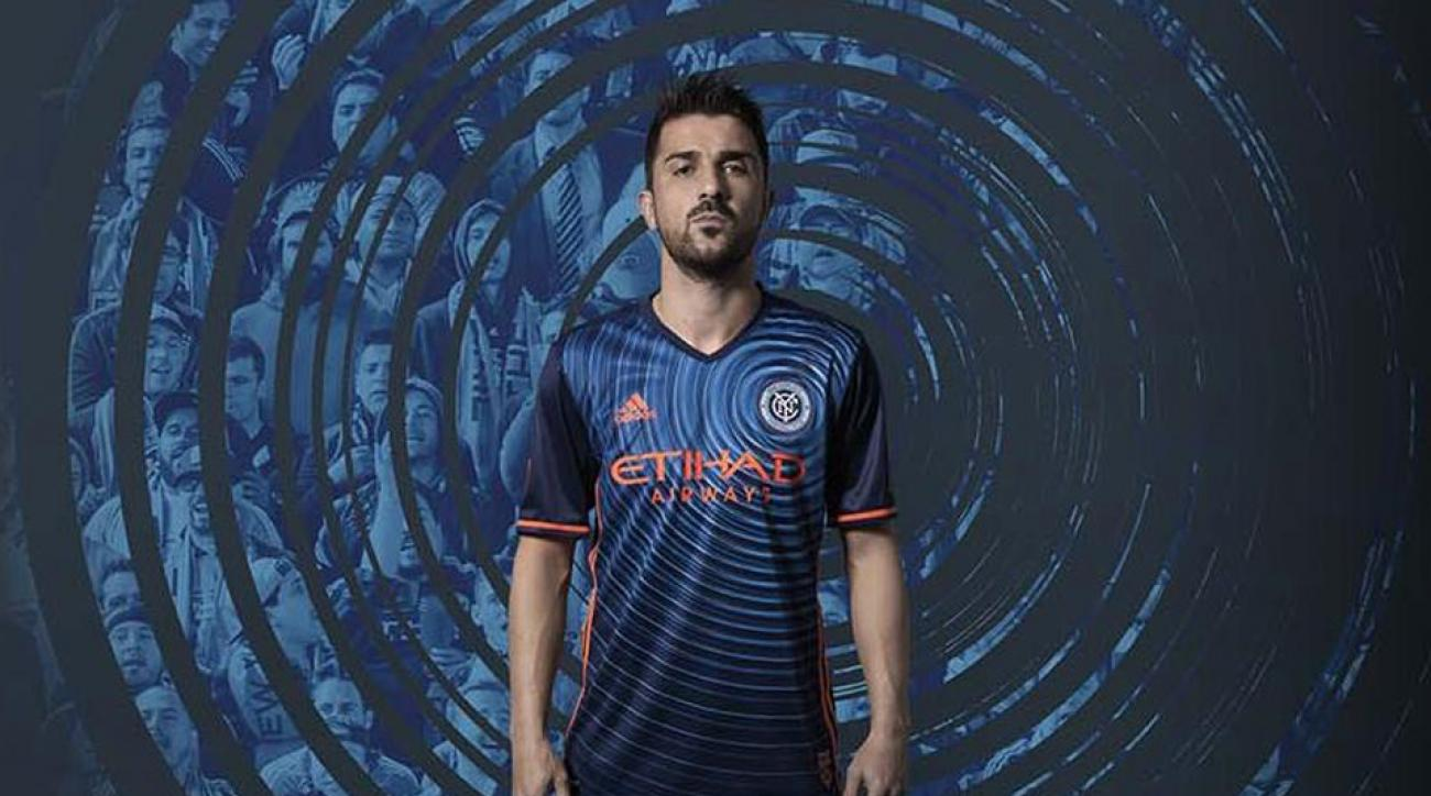 David Villa wears NYCFC's new jersey