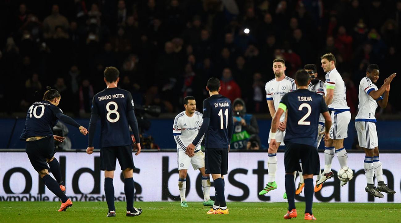 zlatan ibrahimovic psg free kick goal champions league chelsea highlights
