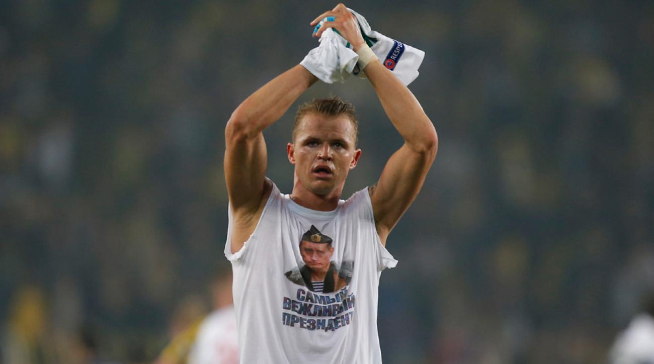 A Lokomotiv Moscow player wore a T-shirt featuring president Vladimir Putin