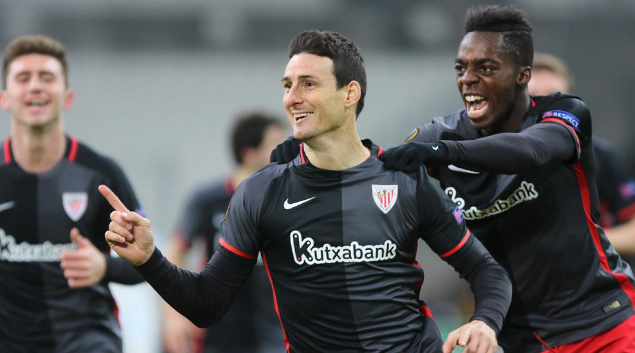 Aritz Aduriz scores on a vicious volley for Athletic Bilbao in the Europa League