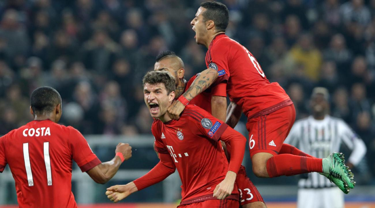 Thomas Muller scores for Bayern Munich vs Juventus