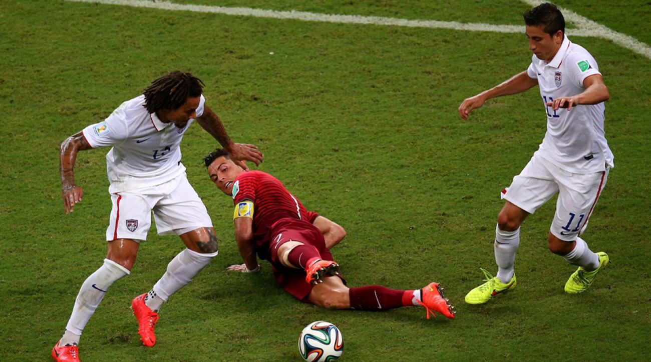 Alejandro Bedoya takes on Cristiano Ronaldo in the World Cup