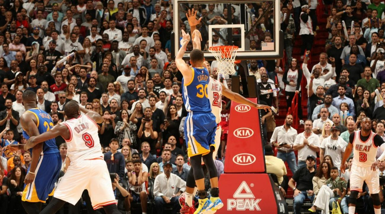 Heat fan has funny reaction to deep Stephen Curry three