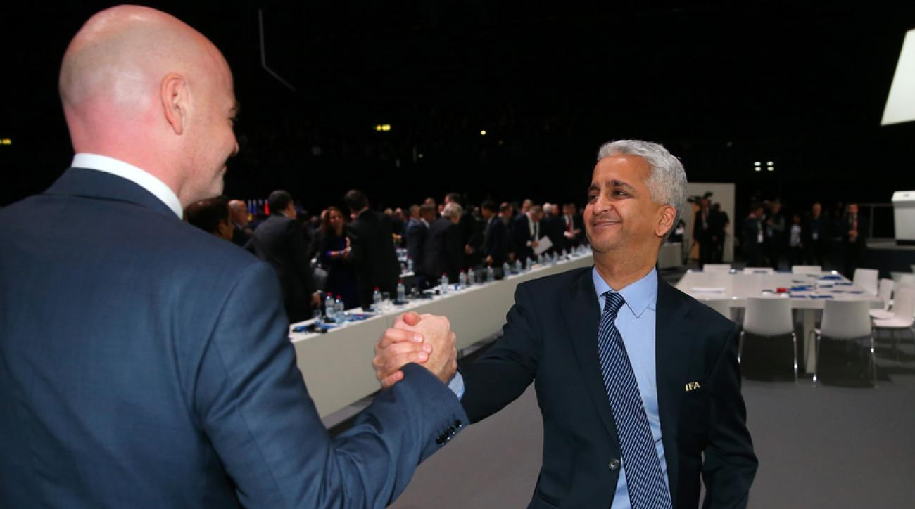 US Soccer president Sunil Gulati and FIFA president Gianni Infantino
