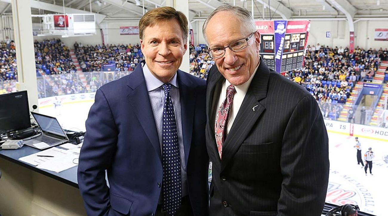 Emrick (right) with NBC's Bob Costas