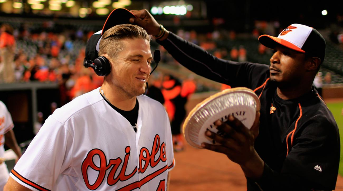 adam jones orioles pie celebration