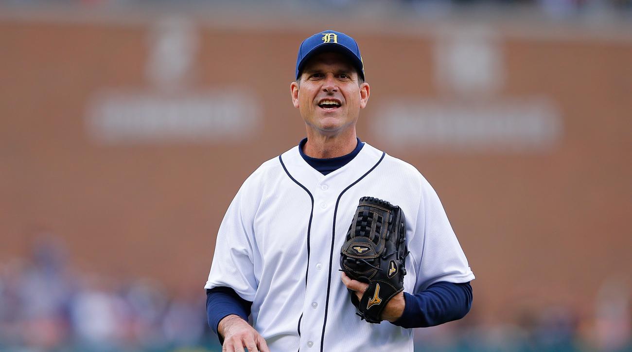 jim harbaugh michigan tigers first base coach