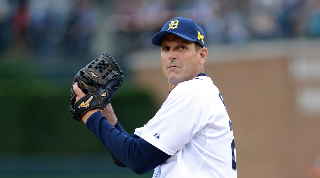 jim harbaugh tigers first base coach