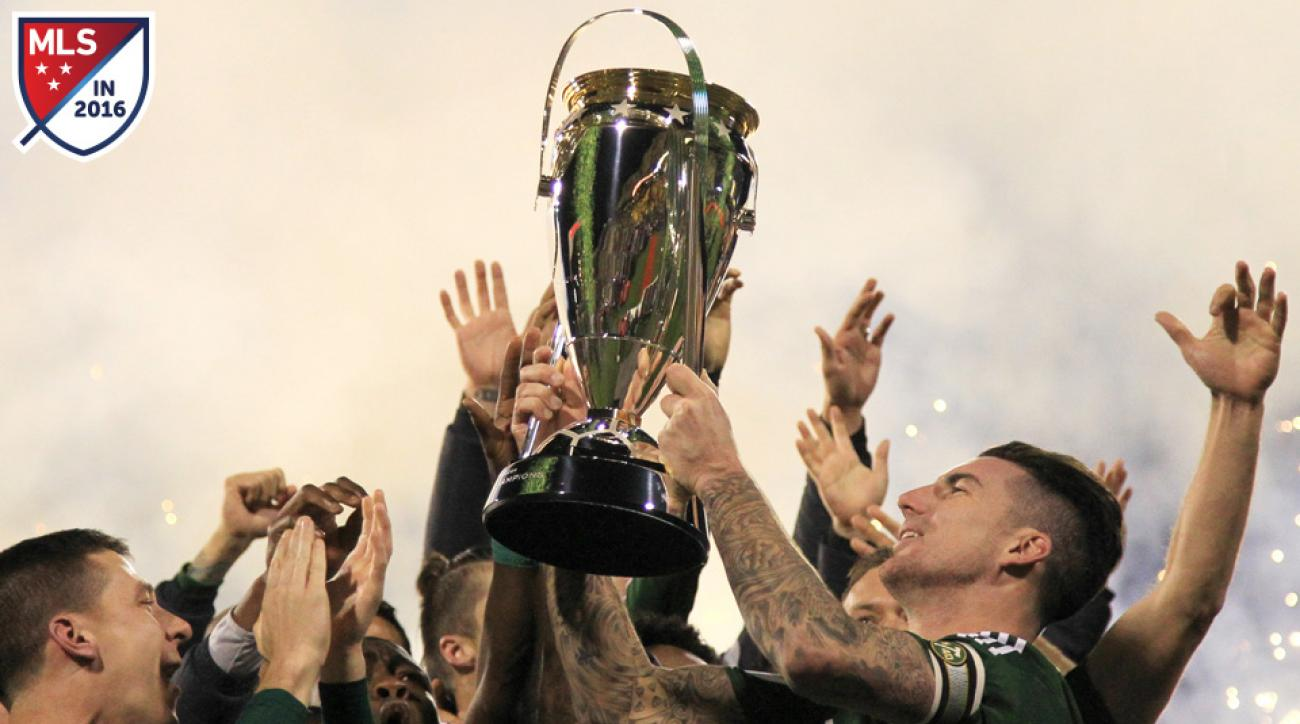 The Portland Timbers lift the 2015 MLS Cup