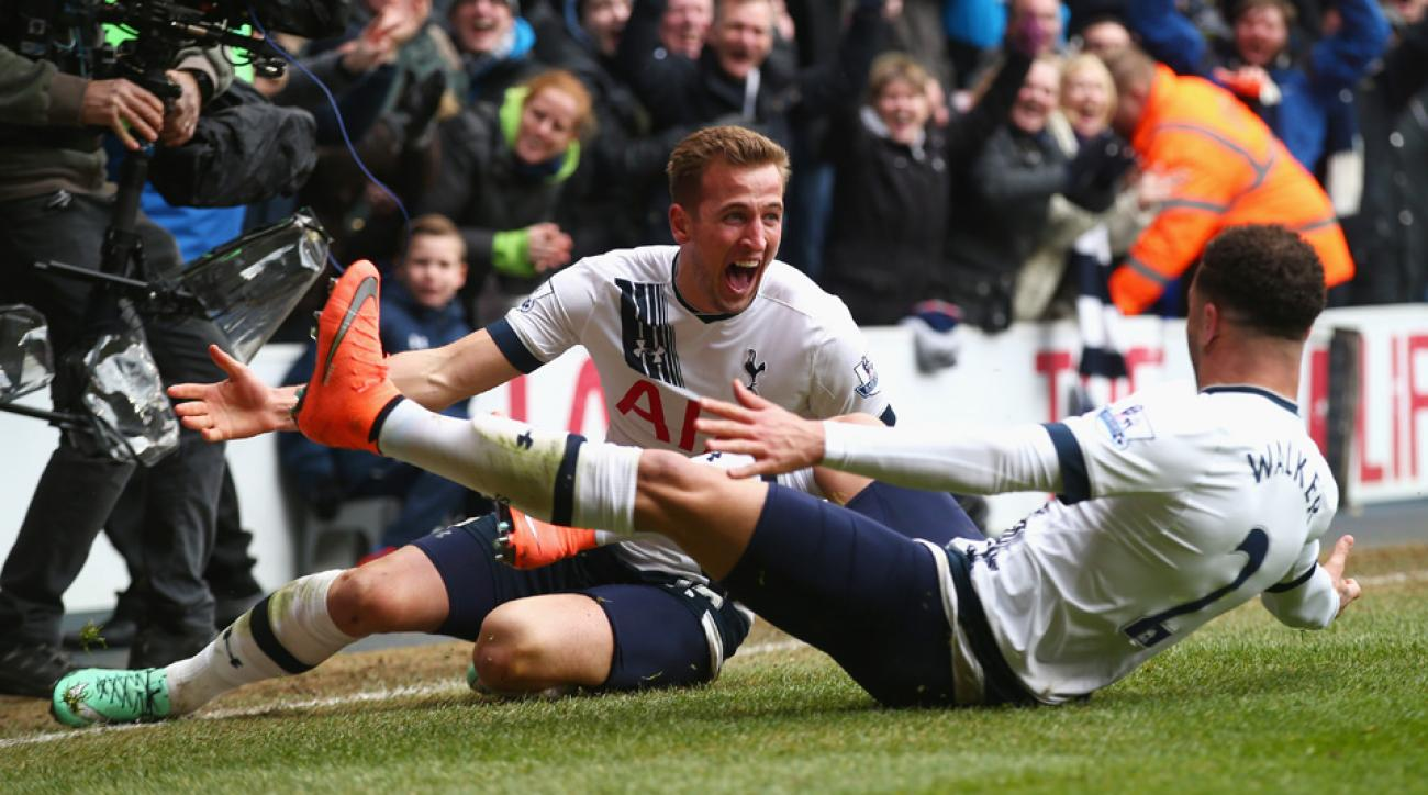 Harry Kane celebrates his goal for Tottenham vs. Arsenal