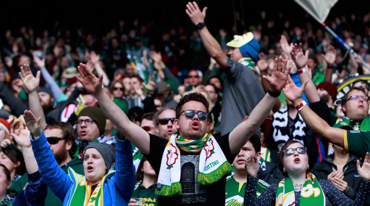 Portland Timbers fans before their season opener