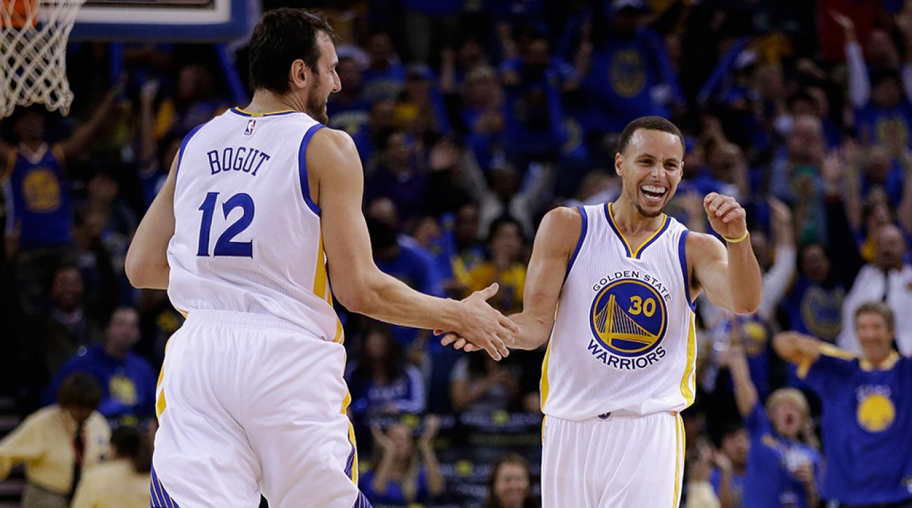 warriors stephen curry andrew bogut shot celebration early video