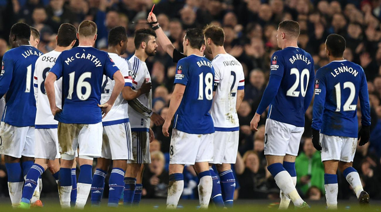 Diego Costa was sent off in Chelsea's FA Cup loss to Everton