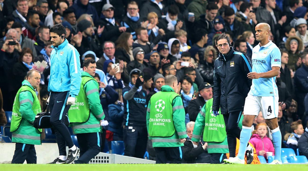 Vincent Kompany exits Manchester City's Champions League game vs. Dynamo Kyiv