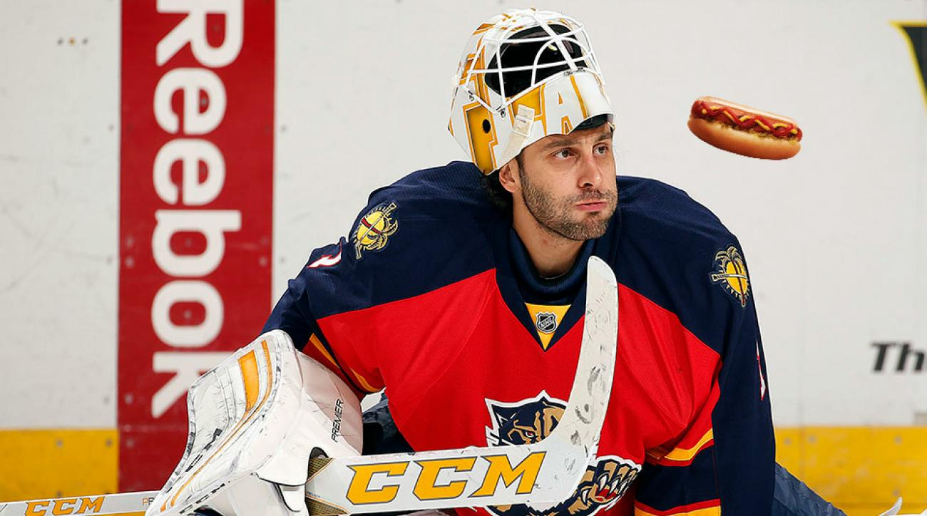 panthers roberto luongo hot dogs between periods