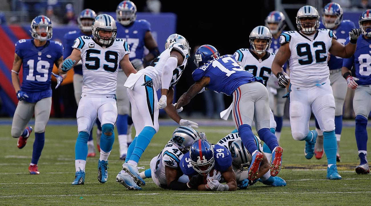 Odell Beckham Jr. was flagged for unnecessary roughness—not unsportsmanlike conduct—for this late, helmet-to-helmet hit on Josh Norman.