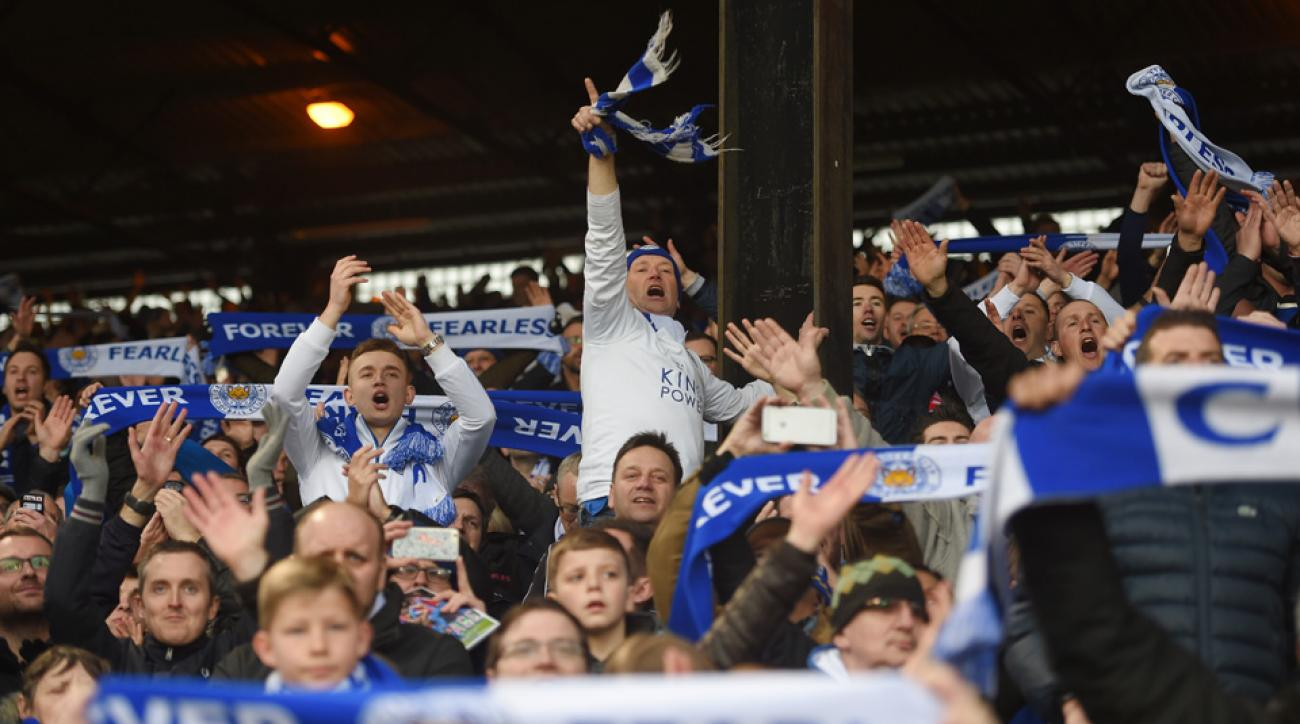 Leicester City fans celebrate another three-point haul in their chase for the Premier League title