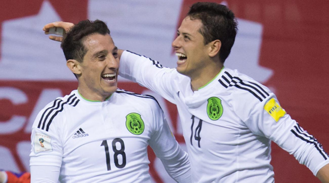Chicharito celebrates his goal for Mexico against Canada in World Cup qualifying