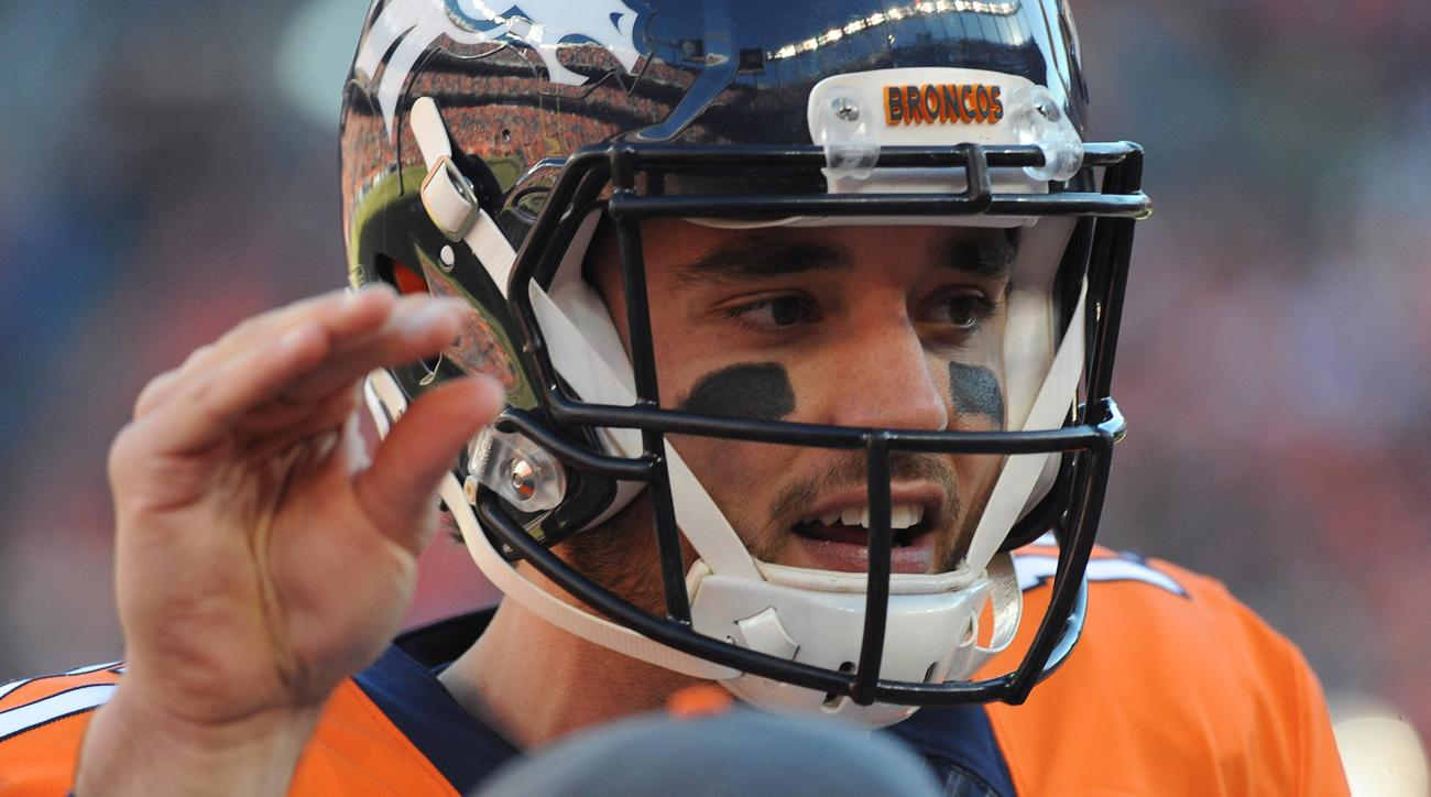 Brock Osweiler signals to his teammates.