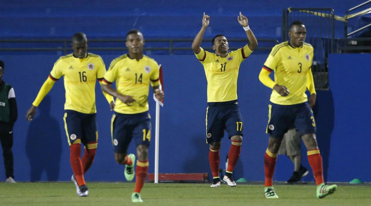 Colombia's Roger Martinez celebrates his goal vs. the USA in their Olympic qualifying playoff