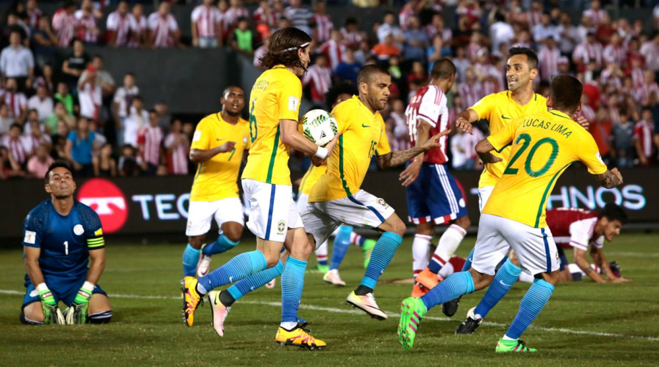 Dani Alves scored a vital equalizer to salvage Brazil's 2-2 draw with Paraguay in World Cup qualifying