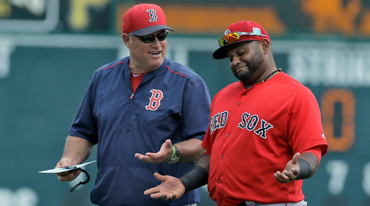 red sox bench pablo sandoval travis shaw third base