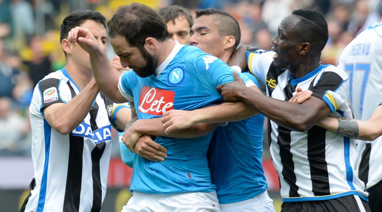 Gonzalo Higuain is banned four matches for Napoli